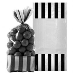 Black Stripe Cello Sweet Bags - 27cm