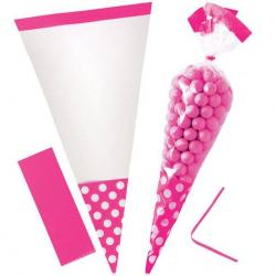 Bright Pink Polka Dot Cello Sweet Cones - 24cm
