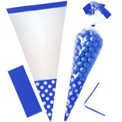 Bright Royal Blue Polka Dot Cello Sweet Cones - 24cm