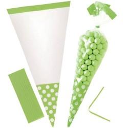 Kiwi Green Polka Dot Cello Sweet Cones - 24cm