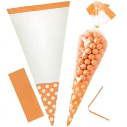 Orange Peel Polka Dot Cello Sweet Cones - 24cm