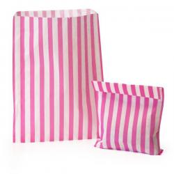 "Bright Pink Candy Stripe Paper Bags  7""x9"""
