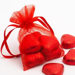 Red organza bags – 3″x4″ (7.5cm x 10cm) – pack of 10