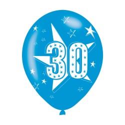 Age 30 Blue Latex Balloons (6pk)