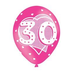 Age 30 Pink Latex Balloons (6pk)