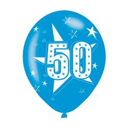 Age 50 Blue Latex Balloons (6pk)