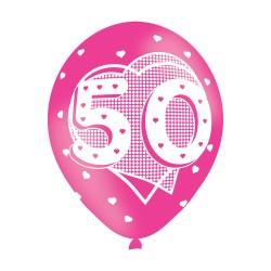Age 50 Pink Latex Balloons (6pk)