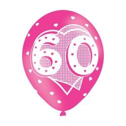 Age 60 Pink Latex Balloons (6pk)