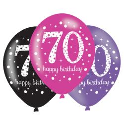 Age 70 Pink Sparkling Celebration Balloons (6pk)