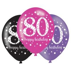 Age 80 Pink Sparkling Celebration Balloons (6pk)