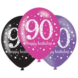 Age 90 Pink Sparkling Celebration Balloons (6pk)