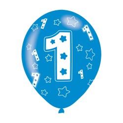 Age 1 Blue Latex Balloons (6pk)