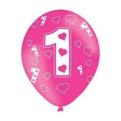 Age 1 Pink Latex Balloons (6pk)