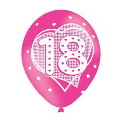 Age 18 Pink Latex Balloons (6pk)