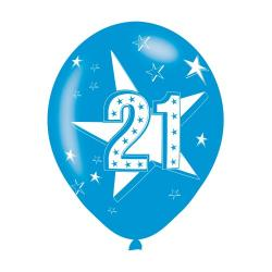 Age 21 Blue Latex Balloons (6pk)