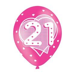 Age 21 Pink Latex Balloons (6pk)