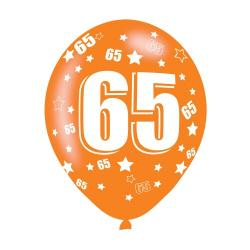 Age 65 Assorted Colours Latex Balloons (6pk)