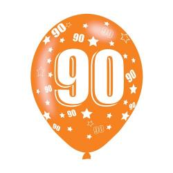 Age 90 Assorted Colours Latex Balloons (6pk)