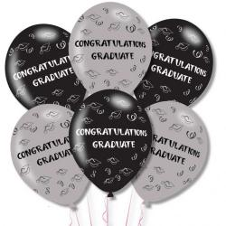 Congrats Graduate Grey/Black Latex Balloons (6pk)