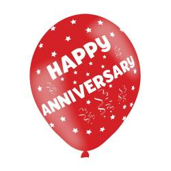 Happy Anniversary Assorted Colours Latex Balloons (6pk)