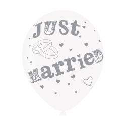 Just Married White/Silver Latex Balloons (6pk)