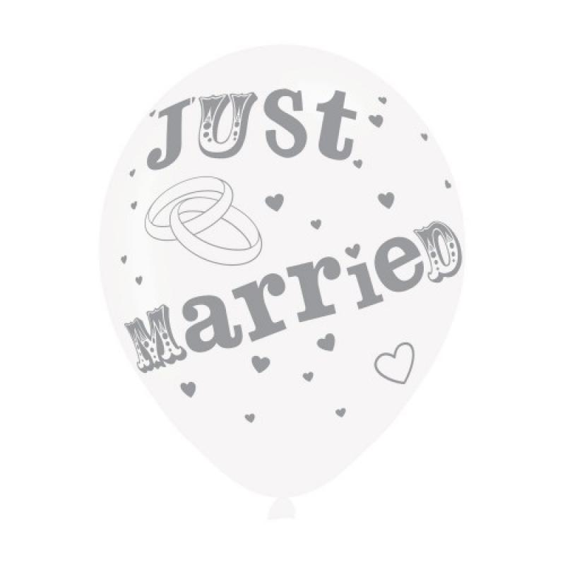 Just Married White Silver Latex Balloons 6pk
