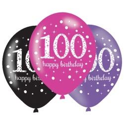 Age 100 Pink Sparkling Celebration Balloons (6pk)