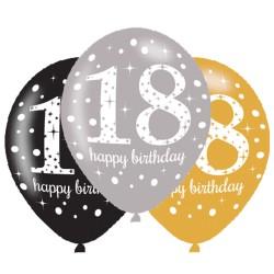 Age 18 Gold Sparkling Celebration Balloons (6pk)