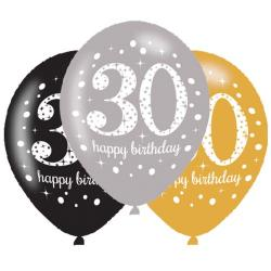 Age 30 Gold Sparkling Celebration Balloons (6pk)