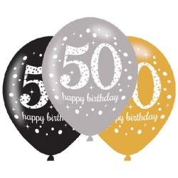 Age 50 Gold Sparkling Celebration Balloons (6pk)