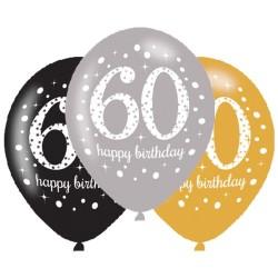 Age 60 Gold Sparkling Celebration Balloons (6pk)