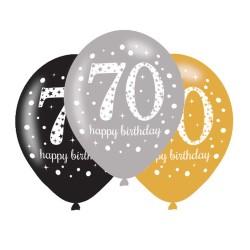 Age 70 Gold Sparkling Celebration Balloons (6pk)