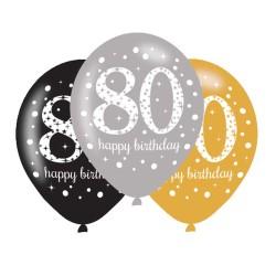 Age 80 Gold Sparkling Celebration Balloons (6pk)