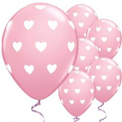 "Big Pink Hearts Valentine's Balloons - 11"" Latex"