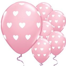 "Big Pink Hearts Valentine's Balloons - 11"" Latex"