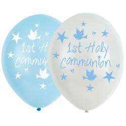 "Blue First Holy Communion Balloons - 11"" Latex (6pk)"