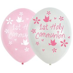 "Pink First Holy Communion Balloons - 11"" Latex (6pk)"