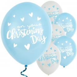 "Blue Christening Day Latex Balloons - 11"" Latex (6pk)"