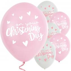"Pink Christening Day Latex Balloons - 11"" Latex (6pk)"
