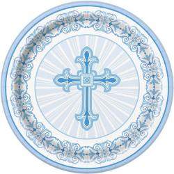 Blue Radiant Cross Paper Plates - 23cm (8pk)