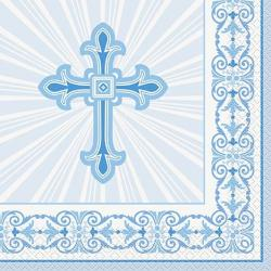 Blue Radiant Cross Luncheon Napkins 16ct