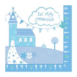 First Holy Communion Blue Paper Napkins - 33cm (16pk)