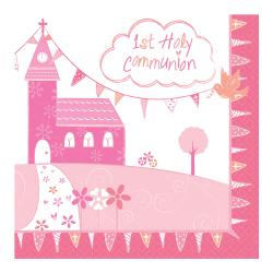 First Holy Communion Pink Paper Napkins - 33cm (16pk)