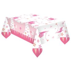 First Holy Communion Pink Plastic Tablecover - 1.2 x 1.8m