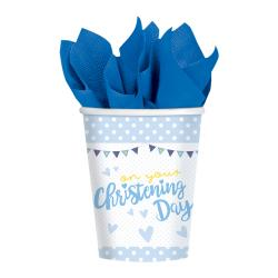 On your Christening Day Blue Paper Cups - 266ml (8pk)