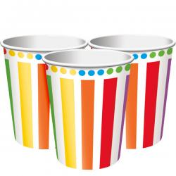 Rainbow Party Cups - 256ml Paper Party Cups (8pk)