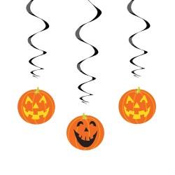 "Pumpkin Hanging Swirl Decoration 26"" L 3CT"