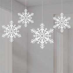 White Glitter Snowflake Hanging Decorations - 10cm