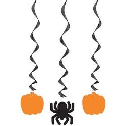 """Pumpkin & Spider Hanging Swirl Decoration 26""""L 3CT"""