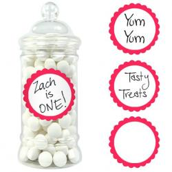Apple Red Candy Buffet Scalloped Labels - 20pk